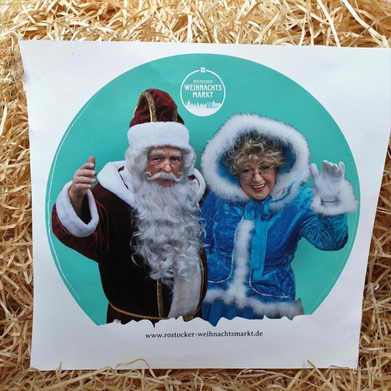 Aufkleber Mit Dem Rostocker Weihnachtsmann Und Der Märchentante